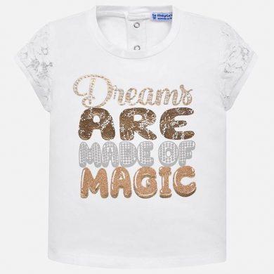 MAYORAL dívčí tričko háčkované rukávy zlatý nápis bílá