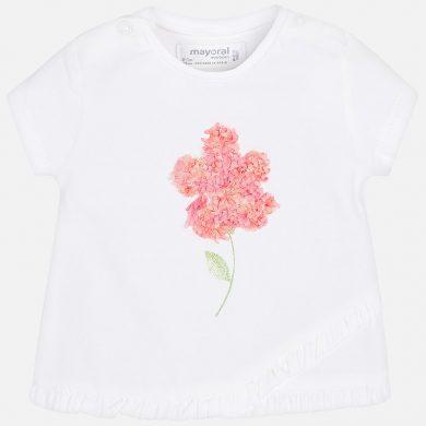 MAYORAL dívčí tričko KR s aplikací květ bílá