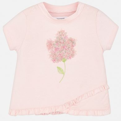 MAYORAL dívčí tričko KR s aplikací květ růžová