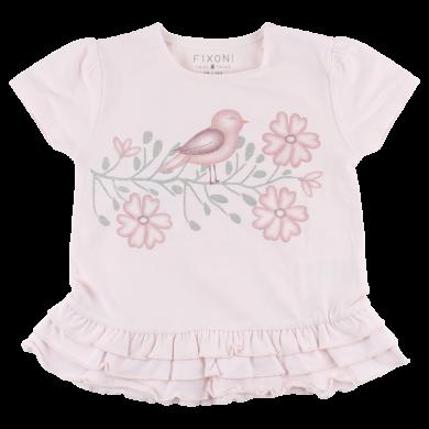 FIXONI dívčí tričko s krátkým rukávem a volánkem - růžové