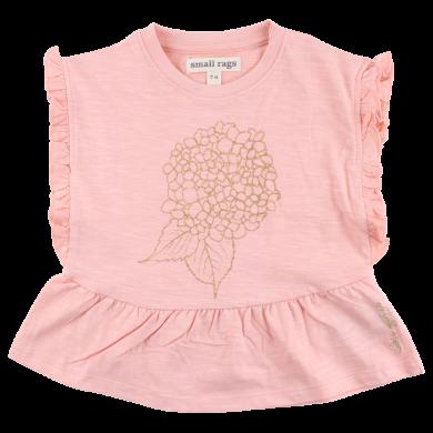 SMALL RAGS dívčí dlouhé tričko zlatá aplikace růžová