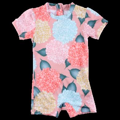 SMALL RAGS dívčí celotělové plavky s nohavičkami květy růžová