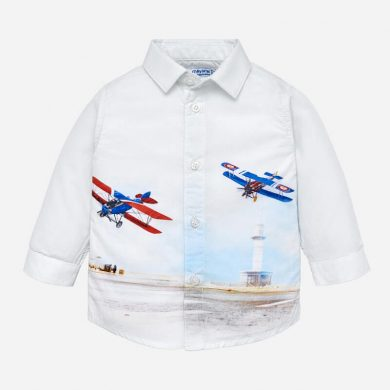MAYORAL chlapecká košile letadlo bílá