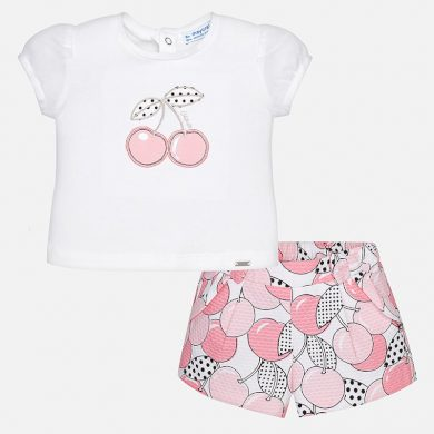 MAYORAL dívčí set tričko a kraťasy s potiskem třešně - bílo růžový