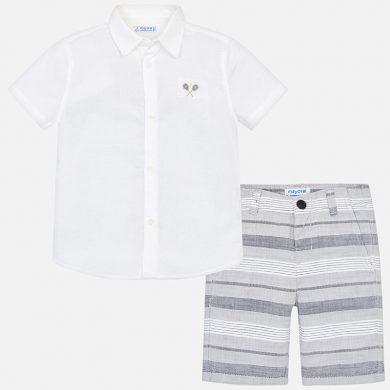 MAYORAL chlapecký set košile a kraťasy pruhy bílá, šedá