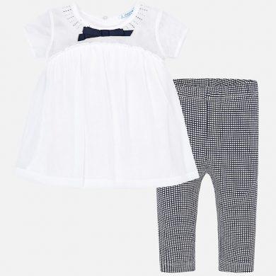 MAYORAL dívčí set tričko a legíny čtverečky bílá, modrá