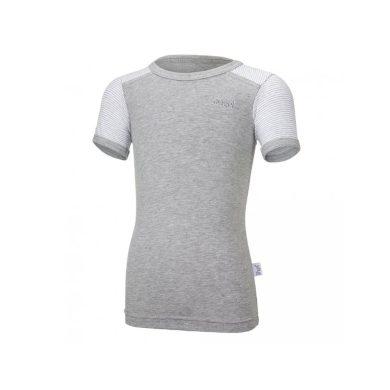 LITTLE ANGEL Tričko tenké KR pruh Outlast® šedý melír/pruh bílošedý melír