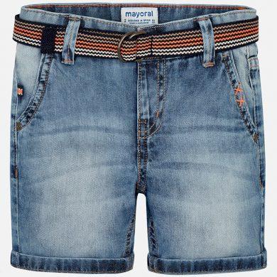 MAYORAL chlapecké džínové kraťasy s páskem světle modrá