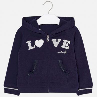 MAYORAL dívčí mikina s kapucí Love tmavě modrá