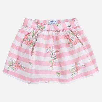 MAYORAL dívčí sukně pruhy - bílo růžová