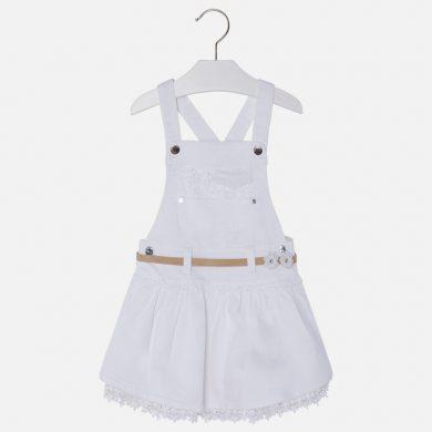 MAYORAL dívčí sukně s laclem, krajkou a páskem - bílá