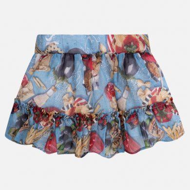 MAYORAL dívčí šifonová sukně s potiskem - barevná