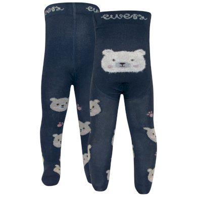 EWERS dětské punčocháče medvídek chlupatý tmavě modrá