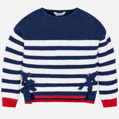 MAYORAL dívčí svetr s mašlí - modrý pruh