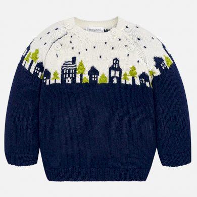 MAYORAL chlapecký pletený svetr město bílá, modrá