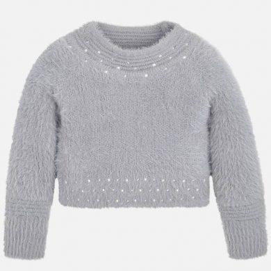 MAYORAL dívčí svetr chlupatý se stojáčkem, šedý
