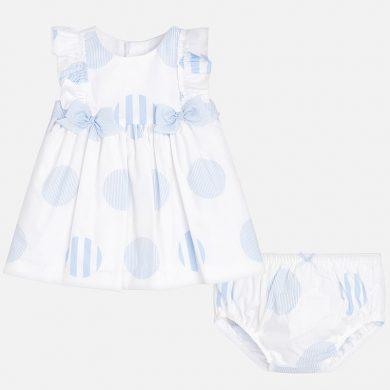 MAYORAL dívčí puntíkované šaty s kalhotkami - bílá, modrá