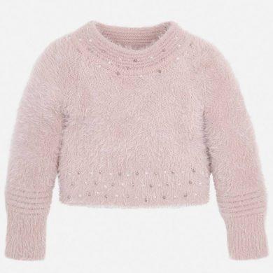 MAYORAL dívčí svetr chlupatý s kamínky růžový