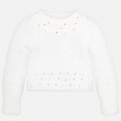 MAYORAL dívčí svetr chlupatý s kamínky béžová