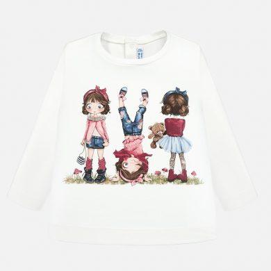 MAYORAL dívčí triko dl. rukáv panenky bílé
