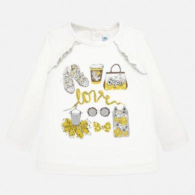 MAYORAL dívčí triko dl. rukáv love béžové