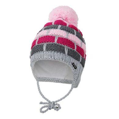 LITTLE ANGEL Čepice pletená zavazovací pruhy Outlast ® šedorůžová