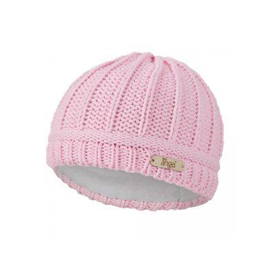 LITTLE ANGEL Čepice pletená sloupky Outlast ® sv.růžová
