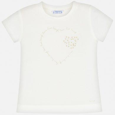 MAYORAL dívčí triko s krátkým rukávem - smetanové se srdcem