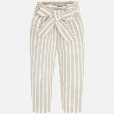 MAYORAL dívčí lněné kalhoty - béžové pruhy