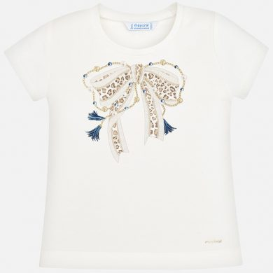 MAYORAL dívčí triko s krátkým rukávem - smetanové s mašlí
