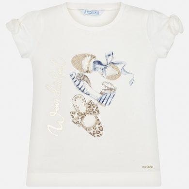 MAYORAL dívčí triko s krátkým rukávem - krémové  s botami