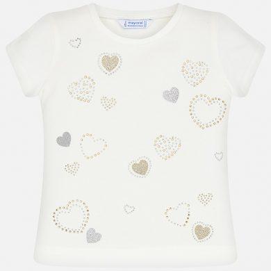 MAYORAL dívčí triko s krátkým rukávem - krémové se srdíčky