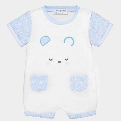 MAYORAL chlapecký krátký overal - bílý, modré kapsy