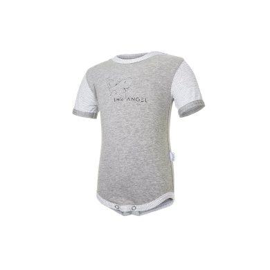 LITTLE ANGEL Body tenké KR obrázek Outlast® šedý melír/pruh bílošedý melír