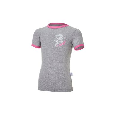 LITTLE ANGEL Tričko tenké KR obrázek Outlast® šedý melír/růžová