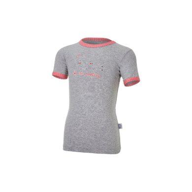 LITTLE ANGEL Tričko tenké KR obrázek Outlast® šedý melír/pruh jahodový