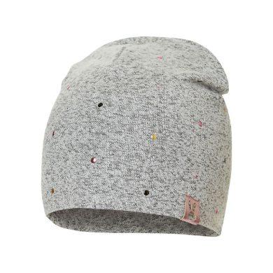 BROEL dětská čepice Inge šedá barevné puntíky