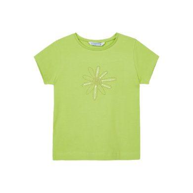 MAYORAL dívčí tričko KR, pistáciová s kytičkou z kamínků