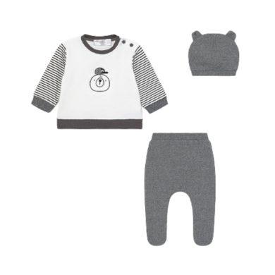 MAYORAL chlapecký set 3ks mikina, polodupačky a čepice s medvědem, šedá/bílá