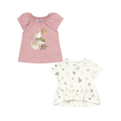 MAYORAL dívčí set 2ks triček KR srdíčka a kočičky, růžová/bílá/zlatá