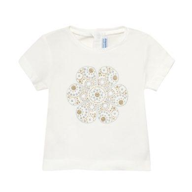 MAYORAL dívčí tričko KR krémové s květem z třpytek