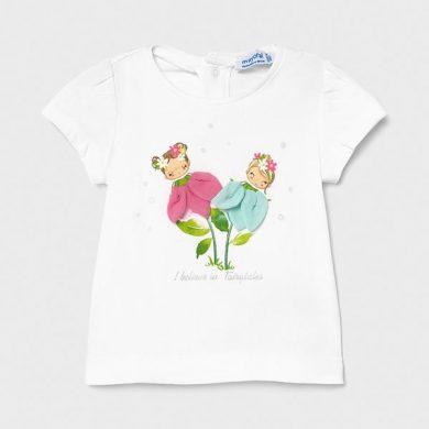 MAYORAL dívčí tričko KR bílé víly