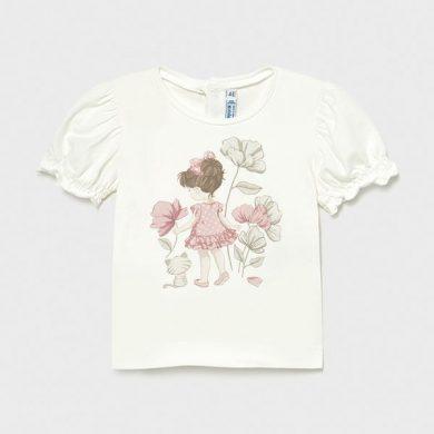 MAYORAL dívčí tričko KR dívka s kočkou, krémové