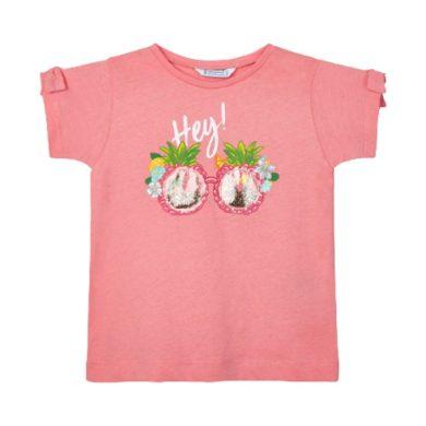 MAYORAL dívčí tričko KR tropické brýle, růžové