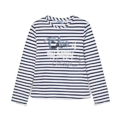 MAYORAL dívčí tričko DR bílá/modrá s nápisem s flitry