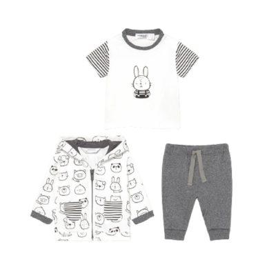 MAYORAL chlapecký set 3ks mikina, tričko a tepláky zvířátka, bílá/šedá