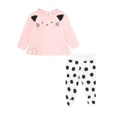 MAYORAL dívčí set 2ks tričko DR a polodupačky s kočičkou, růžová/černá