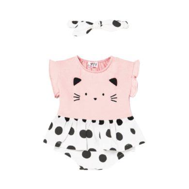 MAYORAL dívčí body se sukénkou a čelenkou s puntíky, růžová/bílá/černá