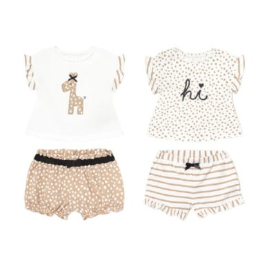 MAYORAL dívčí set 4ks trička a kraťasy žirafa a puntíky, hnědá/bílá
