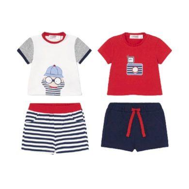 MAYORAL chlapecký set 4ks trička KR a kraťasy, červená/modrá/bílá